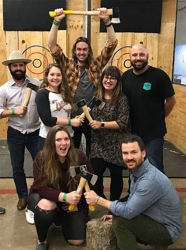Service Direct staff at axe throwing