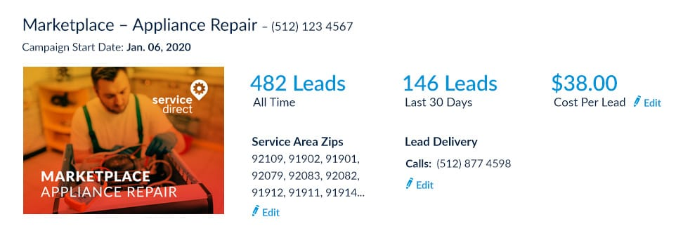 Appliance Repair leads online Cost Per Lead screenshot