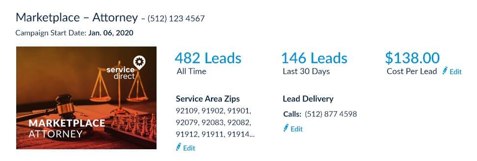 Attorney leads online Cost Per Lead screenshot