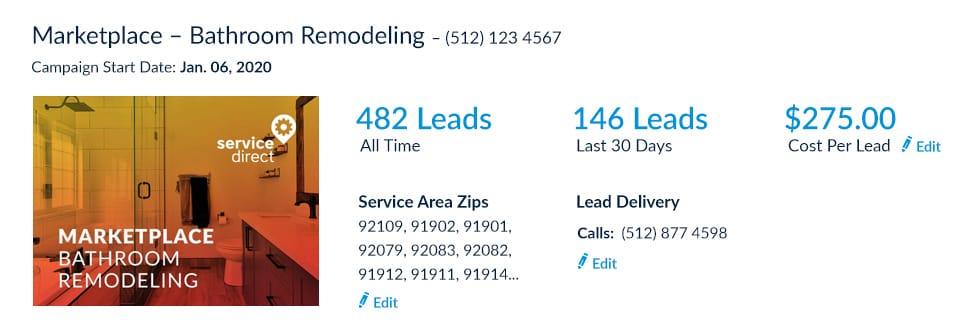 Bathroom Remodeling leads online campaign screenshot