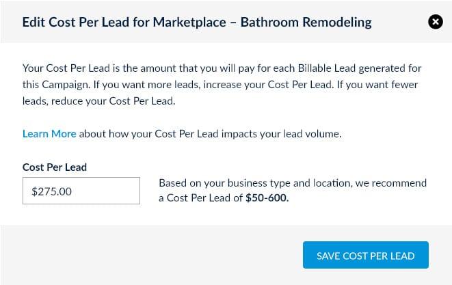 Bathroom Remodeling leads online edit cost per lead screenshot