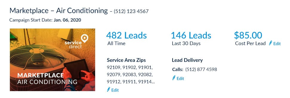 HVAC online leads edit cost per lead screenshot