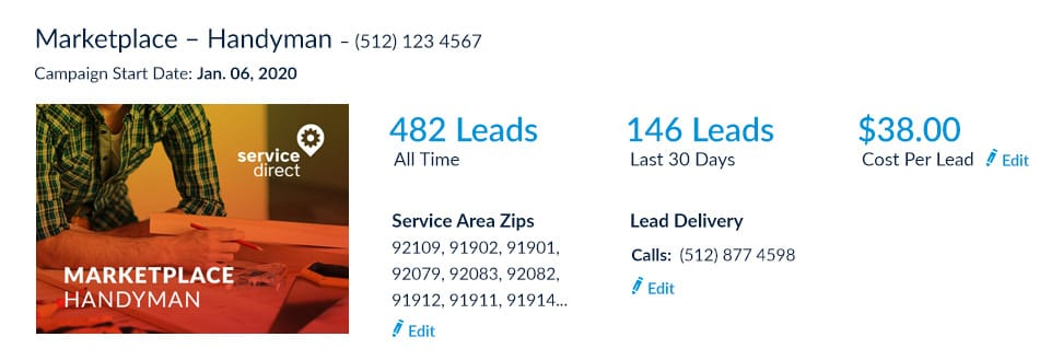 Handyman leads online Cost Per Lead screenshot
