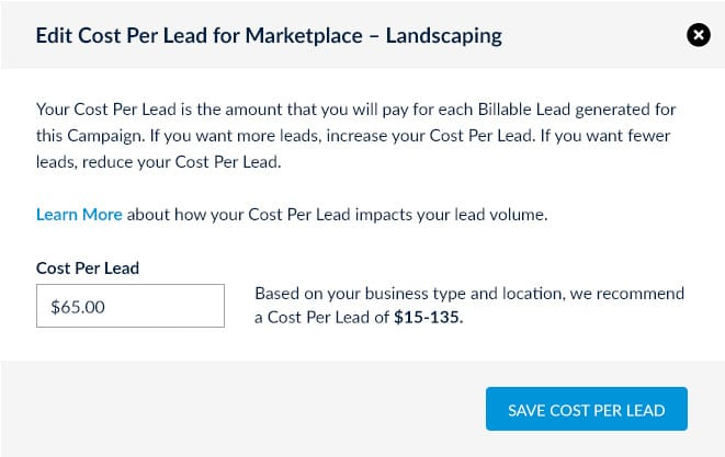 Landscaping leads online edit cost per lead screenshot