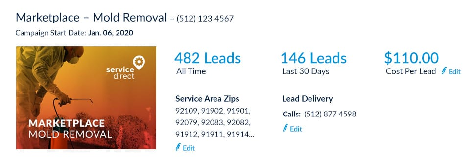 Mold Removal leads online Cost Per Lead screenshot