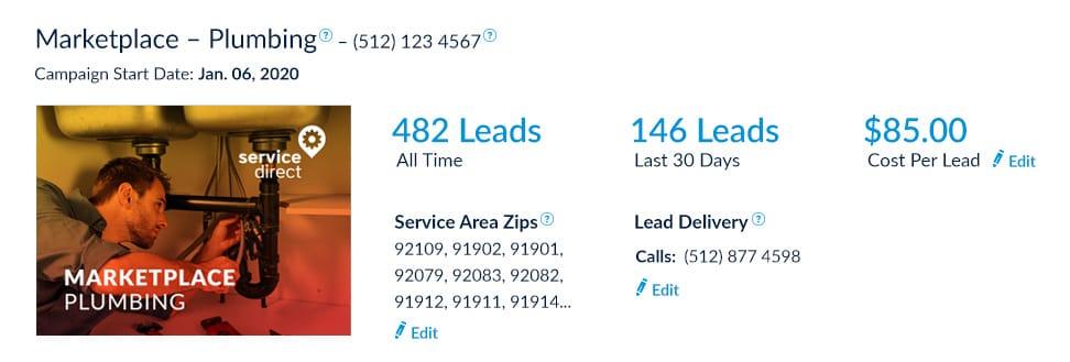 Plumbing leads online Cost Per Lead screenshot