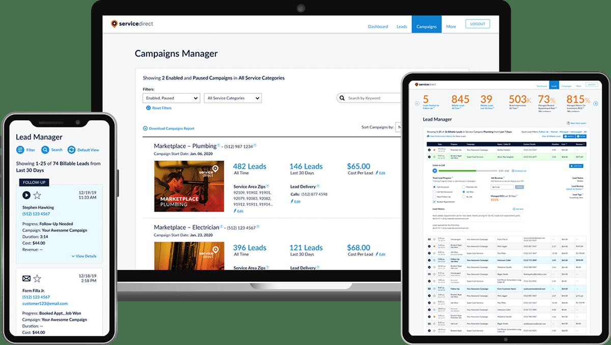 Siding leads online platform screenshots